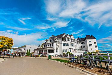Street view of the beautiful buildings on Mackinac Island, Michigan, United States of America, North America