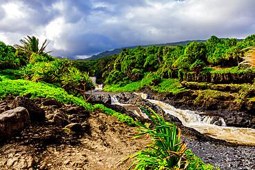 Beautiful waterfall on Maui, Hawaii, United States of America, North America
