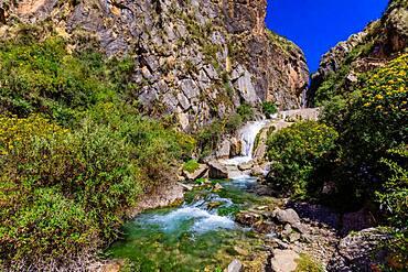 Waterfall along the Inti Punku Trek, Ollantaytambo, Peru, South America