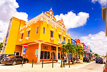The beautiful colorful buildings in downtown Bonaire.