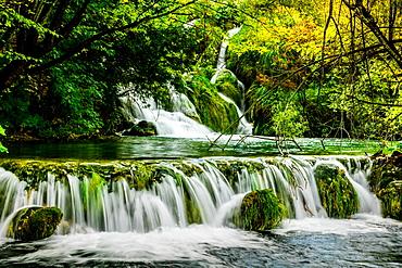 Waterfall in Plitvice Lakes National Park, UNESCO World Heritage Site, Croatia, Europe