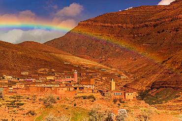 Rainbow across the Dades Gorges, Morocco, North Africa, Africa
