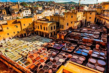 Dyeing vats, Tanneries, Fez, Morocco, North Africa, Africa