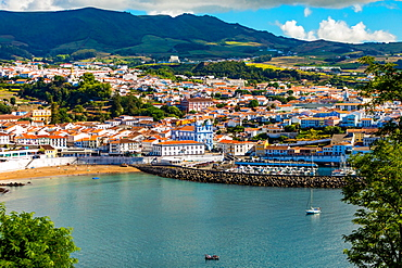 View of houses and buildings in Angra do Heroismo on Terceira Island, part of the Azores Islands, Portugal, Atlantic, Europe