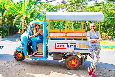 American women tourists on bemo, Vietnam, Indochina, Southeast Asia, Asia