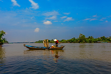 Fisherman on the river, Vietnam, Indochina, Southeast Asia, Asia