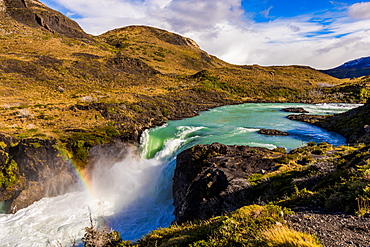 Beautiful rainbow over Torres del Paine National Park, Patagonia, Chile, South America