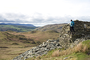 Hiking up Place Fell near Ullswater, Lake District National Park, Cumbria, England, United Kingdom, Europe