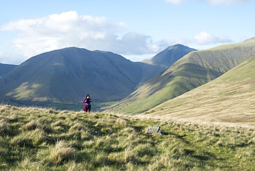 Trekking in the English Lake District in Wasdale with views of Kirk Fell and Great Gable in the distance, Lake District National Park, Cumbria, England, United Kingdom, Euorpe