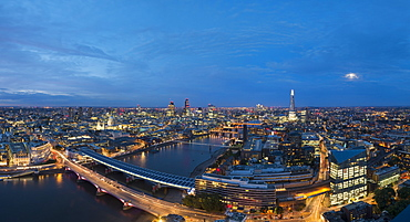 A night-time panoramic view of London and the River Thames from the top of the Southbank Tower showing The Shard and St. Paul's Cathedral, London, England, United Kingdom, Europe