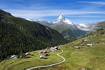 The classic Walkers Haute route from Chamonix to Zermatt the trail leads down into Zermatt with the Matterhorn ahead, Switzerland, Europe