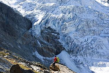 The classic Walkers Haute Route from Chamonix to Zermatt in the Swiss Alps, Switzerland, Europe