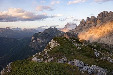 Monte Civetta in Dolomites range near Rifugio Tissi near the Alta Via 1 trail, Belluno, Veneto, Italy, Europe