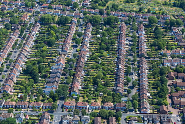An aerial view of residential streets in London, England, United Kingdom, Europe