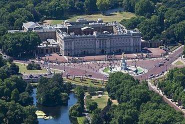 An aerial view of Buckingham Palace, London, England, United Kingdom, Europe