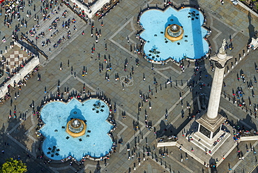 An aerial view of Trafalgar Square in London, England, United Kingdom, Europe