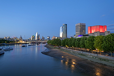 River Thames and London at blue hour, London, England, United Kingdom, Europe