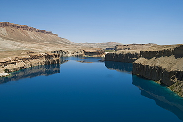 The spectacular deep blue lakes of Band-e Amir in central Afghanistan make up the country's first National Park, Afghanistan, Asia