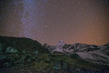 Ama Dablam Base Camp at night, Khumbu Region, Nepal, Himalayas, Asia