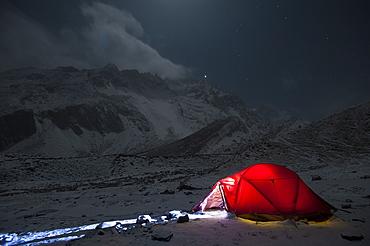 Taken on a freezing Christmas eve in the Manaslu region, Nepal, Himalayas, Asia
