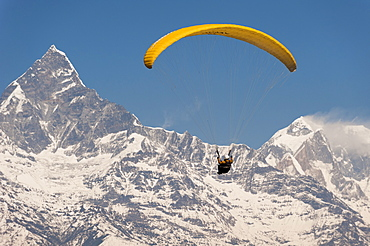 A paraglider carves a turn with views of Machapuchare (Fishtail mountain) in the distance, Nepal, Himalayas, Asia