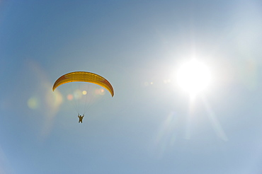 A paraglider nears the landing zone above Phewa Lake in Nepal, Asia