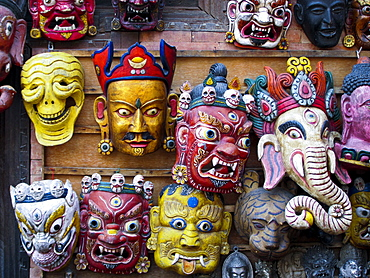 Painted face masks on display in the historical Newar city of Bhaktapur, Nepal, Asia