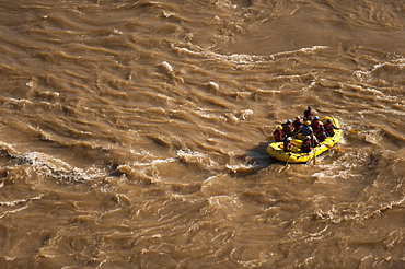 Tourists having fun rafting on the sacred River Ganges (Mother Ganga), Rishikesh, Uttarakhand (Uttaranchal), India, Asia