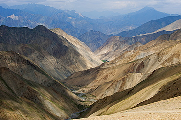 View from the top of the Konze La at 4900 m during the Hidden Valleys trek in Ladakh, Himalayas, India, Asia