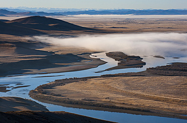 The Yellow River (Huang He) at 5464 kilometers, the second longest river in China, after the Yangtze, and the sixth-longest in the world, at sunrise, Sichuan Province, China, Asia