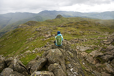 Hiking in Great Langdale with a view of the Pike of Stickle in the distance, Lake District National Park, Cumbria, England, United Kingdom, Europe