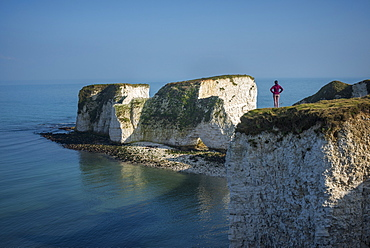 A woman looks out at Old Harry Rocks at Studland Bay, Jurassic Coast, UNESCO World Heritage Site, Dorset, England, United Kingdom, Europe