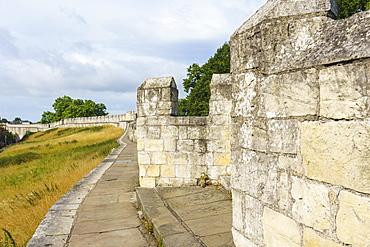 Medieval city walls, York, North Yorkshire, England, United Kingdom, Europe - 1226-1026