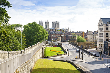 Medieval city walls and York Minster, York, North Yorkshire, England, United Kingdom, Europe