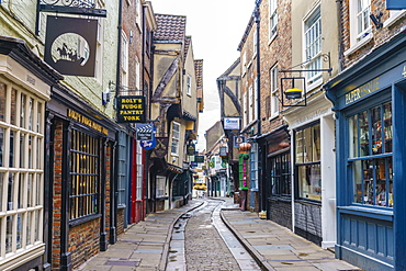 The Shambles, a preserved medieval street in York, North Yorkshire, England, United Kingdom, Europe - 1226-1041