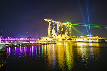 The nightly light and laser show in Marina Bay from the Marina Bay Sands, Singapore, Southeast Asia, Asia