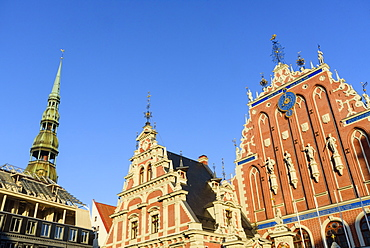 St. Peter's Church's spire, House of Blackheads, Town Hall Square, UNESCO World Heritage Site, Riga, Latvia, Europe