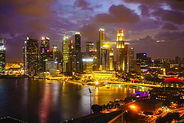 The towers of the Central Business District and Marina Bay at dusk, Singapore, Southeast Asia, Asia