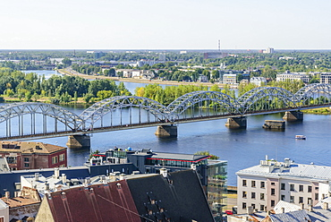 Daugava River and Railway Bridge, Riga, Latvia, Europe
