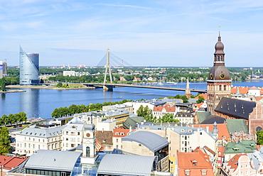 Vansu Bridge, Riga Cathedral, view from St. Peter's Church, Riga, Latvia, Europe