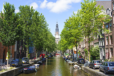 Zuiderkerk church and canal, Amsterdam, North Holland, The Netherlands, Europe