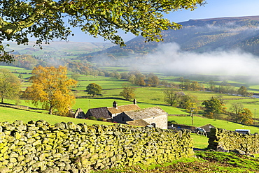 Mist around Simons Seat and along the River Wharfe in Wharfedale, The Yorkshire Dales, Yorkshire, England, United Kingdom, Europe