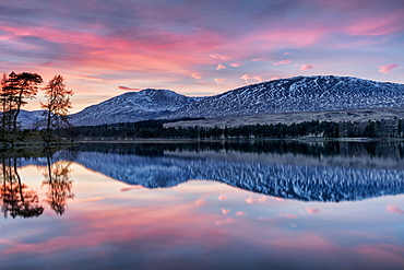 Winter sunset over The Black Mount and Loch Tulla, Argyll and Bute, Scotland, United Kingdom, Europe