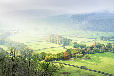 Dawn light over Arncliffe village in Littondale, North Yorkshire, Yorkshire, England, United Kingdom, Europe