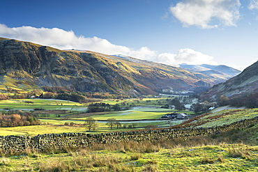 Late afternoon winter sunlight over Threlkeld Knotts from Tewet Tarn, St. John's in the Vale, Lake District National Park, UNESCO World Heritage Site, Cumbria, England, United Kingdom, Europe
