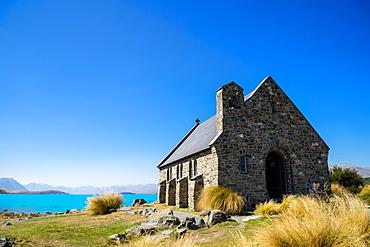 Church of the Good Shepherd, an old church overlooking turquoise blue Lake Tekapo, Tekapo, Mackenzie Distrtict, Canterbury Region, South Island, New Zealand, Pacific