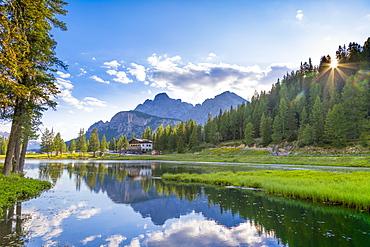 Lake Anturno, UNESCO World Heritage Site, Province of Belluno, Misurina, Auronzo di Cadore, Veneto, Italy, Europe