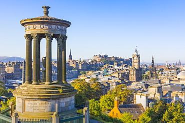 City centre skyline, Dugald Stewart Monument, Edinburgh, Scotland, United Kingdom, Europe