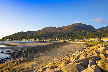 Sea defences, Newcastle Beach, Mourne Mountains, County Down Coast, Ulster, Northern Ireland, United Kingdom, Europe