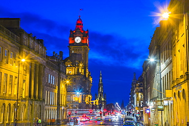 View from Waterloo Place, The Balmoral Hotel at dusk, Princes Street, Edinburgh, Lothian, Scotland, United Kingdom, Europe